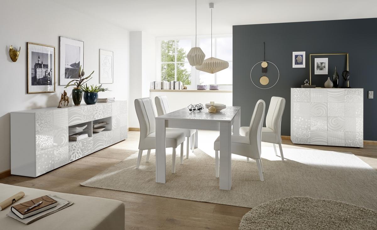 Nowoczesne białe meble do salonu z oryginalnym nadrukiem