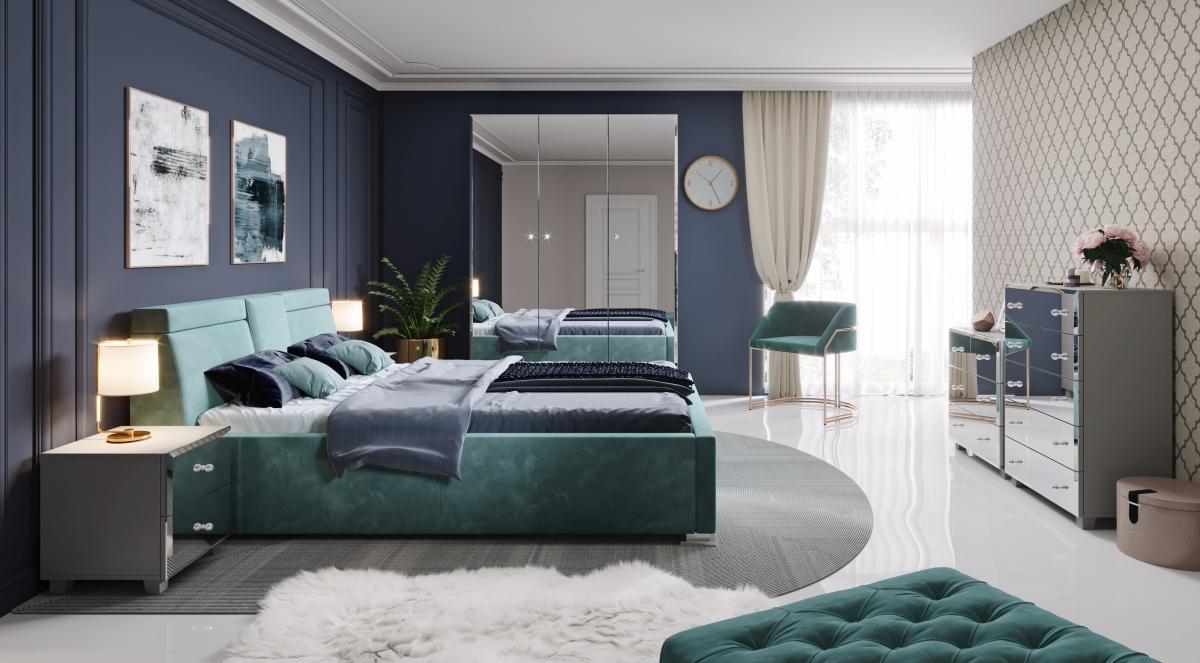 Elegancka komoda do sypialni Bellagio z lustrzanymi frontami