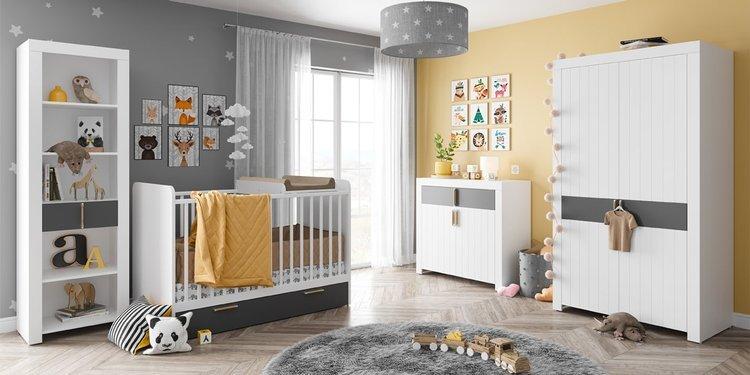 Dwudrziowa szafa z półkami i drązkami do pokoju dziecięcego