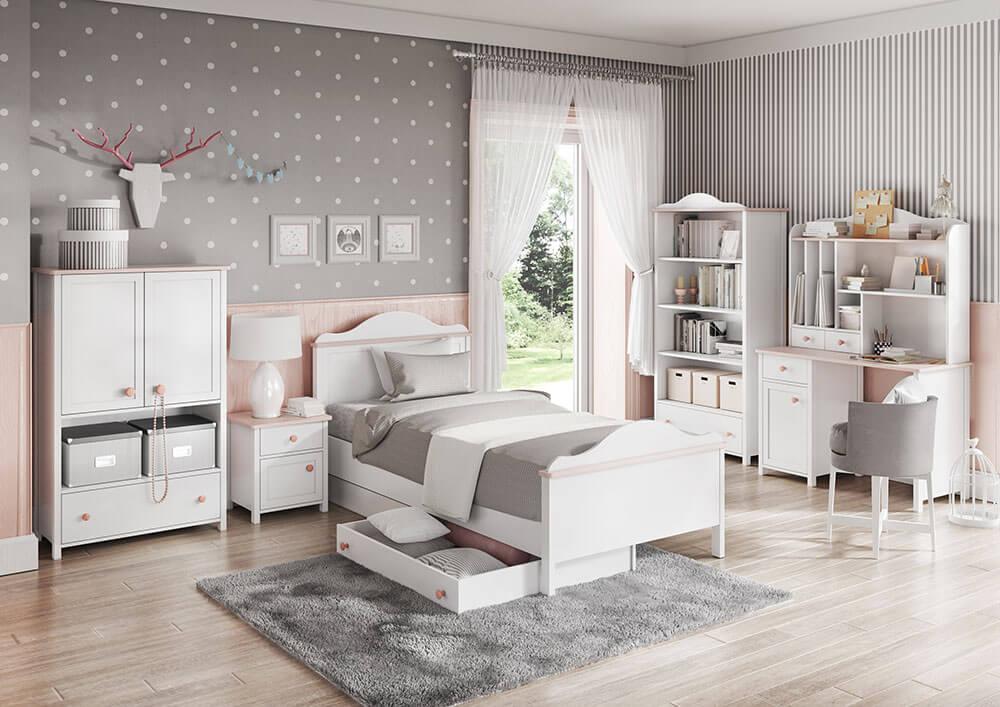 Stylowe łóżko dziecięce Luna z pojemnikiem na pościel
