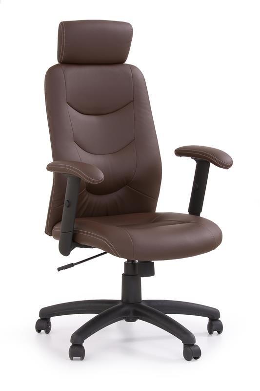 brązowy fotel obrotowy do gabinetu
