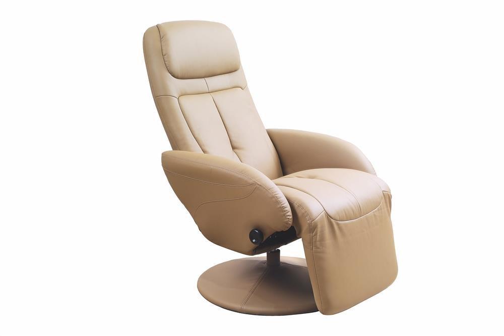 beżowy fotel rozkładany w ekoskórze