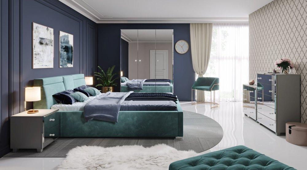 Elegancka komoda do sypialni Bellagio ze szklanymi frontami