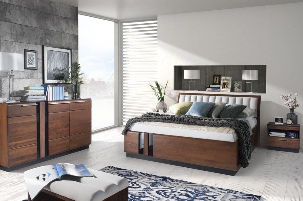Elegenckie łoże Porti z białym tapicerowanym wezgłowiem