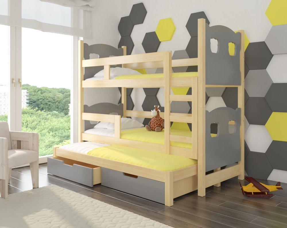Łóżko piętrowe z wysuwaną dodatkową leżanką i pojemnikami na pościel doskonale się sprawdzi w pokoju rodzeństwa