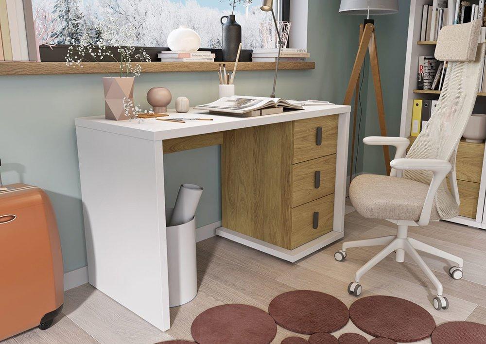 Białe młodzieżowe biurko z trzema szufladami