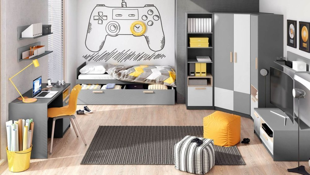 Młodzieżowe biurko w odcieniach szarości z zamykanymi półkami pomoże w odrabianiu zadań domowych i rozwijaniu własnych pasji
