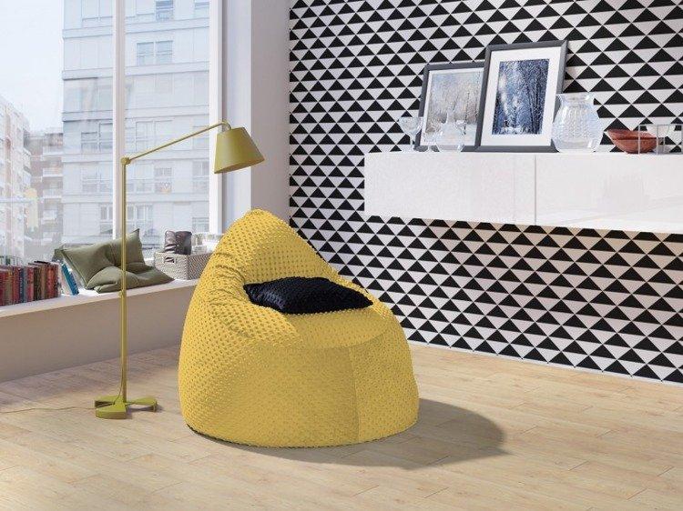 Żółta materiałowa pufa młodzieżowa