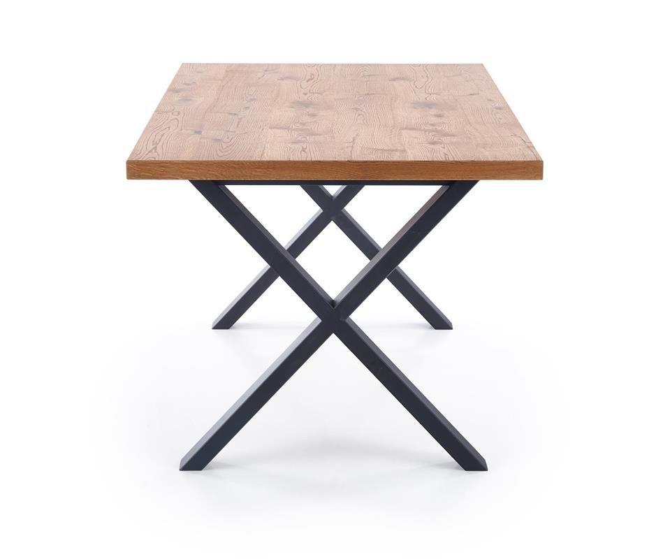 loftowy stół Olivier na czarnych krzyżowych nogach