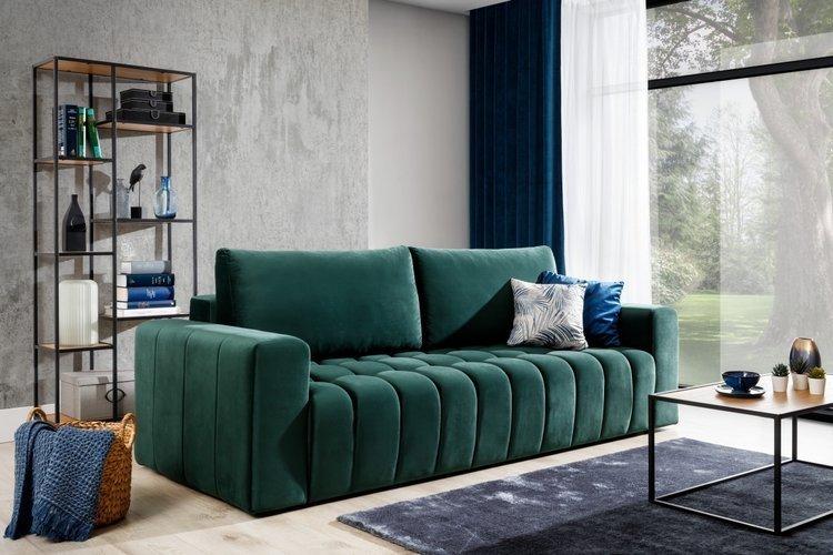 Nowoczesna sofa z miękkim siedziskiem w kolorze zielonym