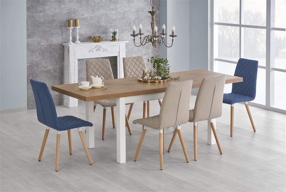klasyczny stół May na białych drewnianych nogach