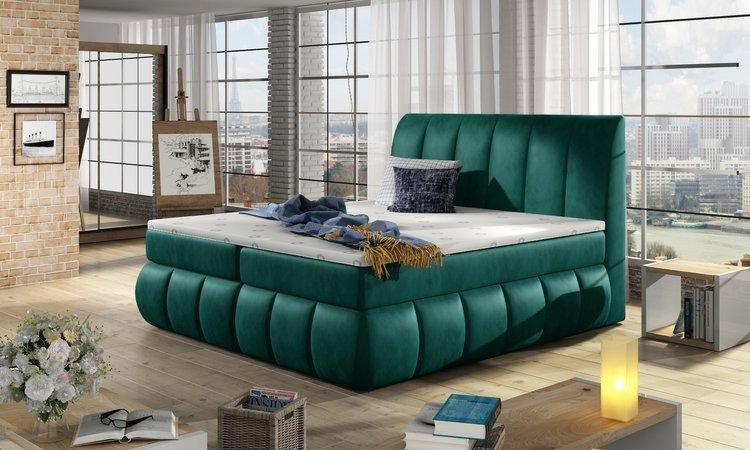 Eleganckie łoże kontynentralne Vincent w kolorze zielonym