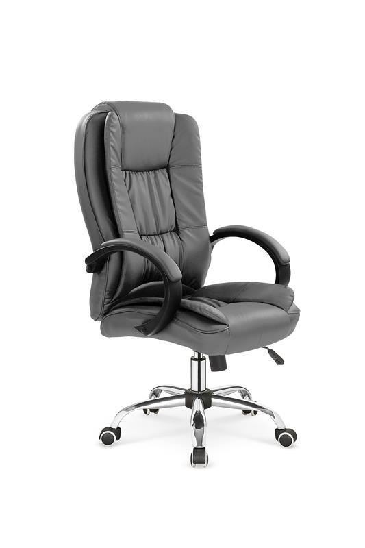 Szary skórzany fotel biurowy