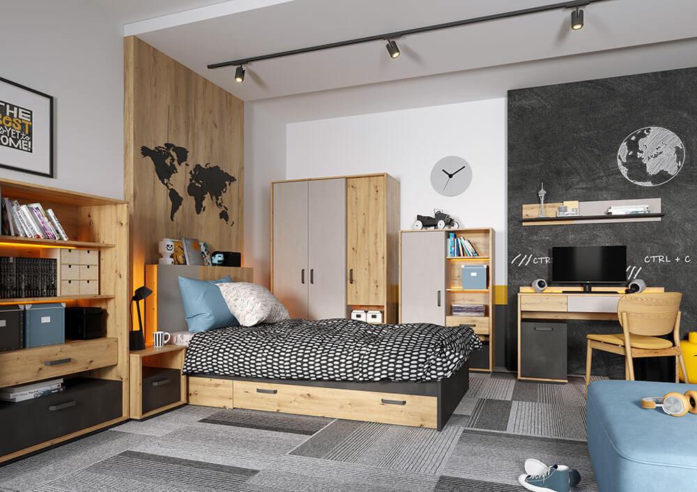 Zestaw mebli do pokoju pokoju młodzieżowego Qubic w kolorze naturalnego drewna