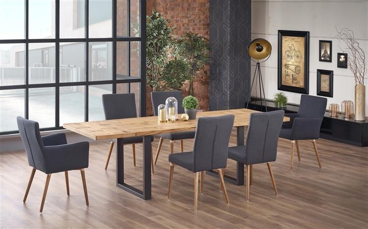 Zestaw loftowych mebli do jadalni Parmezan - duży rozkładany stół i 6 tapicerowanych krzeseł