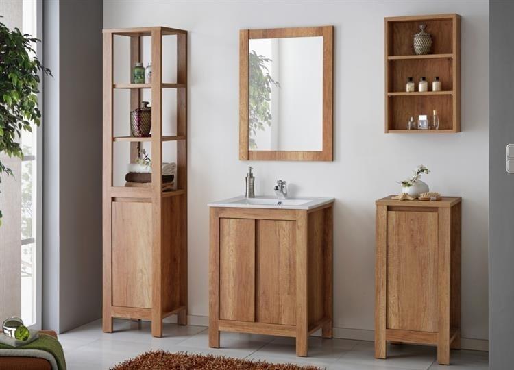 Zestaw łazienkowy Typo-Oak w kolorze naturalnego drewna