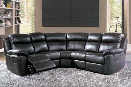 Skórzany narożnik z funkcją relax w kolorze czarnym