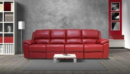czerwona, skórzana sofa Cinema z funkcją relax