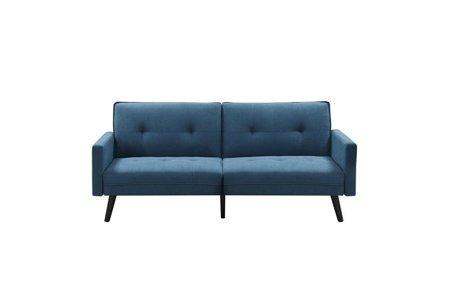 tapicerowana sofa z wygodnym siedziskiem w kolorze niebieskim