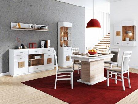 Zestaw mebli do jadalni lub salonu w białym połysku